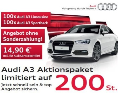 audi a3 leasing deal f r privat und gewerbekunden f r 169. Black Bedroom Furniture Sets. Home Design Ideas