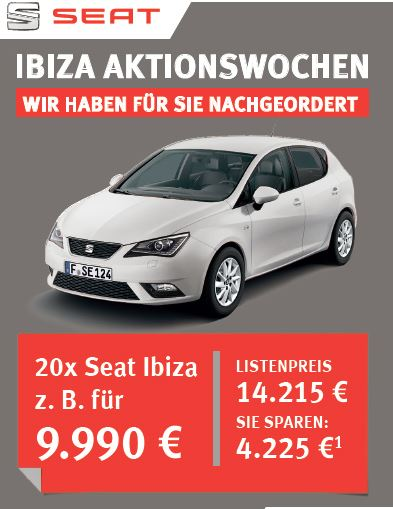 kaufdeal seat ibiza reference tageszulassungen. Black Bedroom Furniture Sets. Home Design Ideas