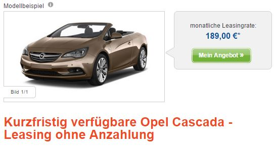 opel cascada 189 leasingrate. Black Bedroom Furniture Sets. Home Design Ideas