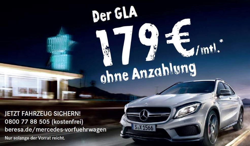 mercedes gla score vorf hrwagen leasing ab 179 je monat leasing. Black Bedroom Furniture Sets. Home Design Ideas