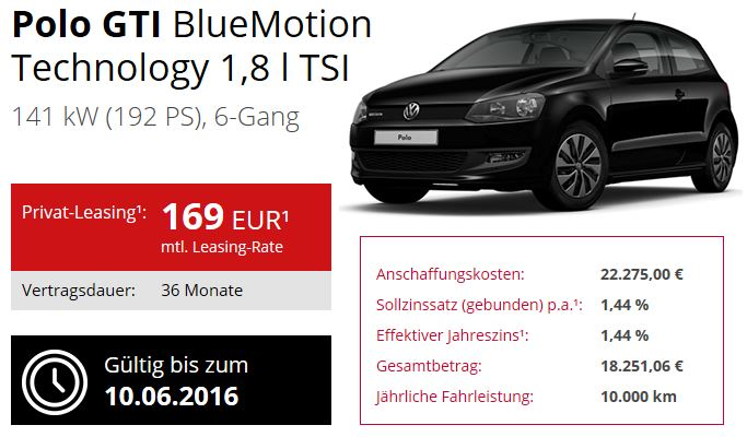 polo gti blitzangebot leasing f r 169 pro monat. Black Bedroom Furniture Sets. Home Design Ideas