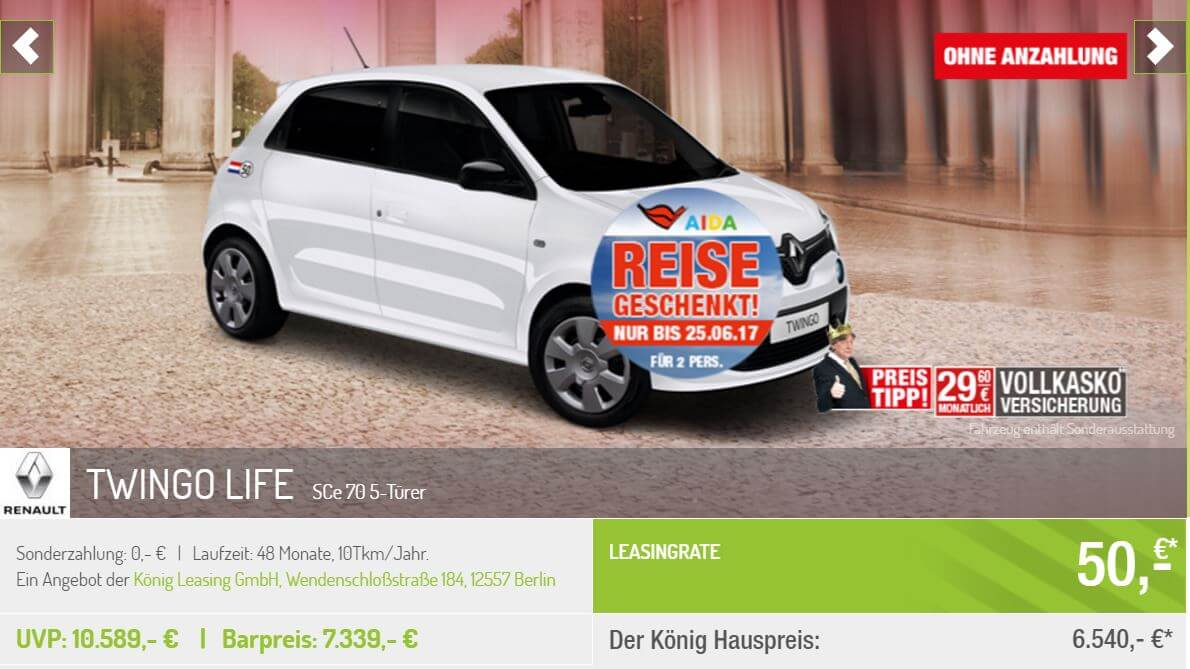 renault twingo k nig leasing leasing. Black Bedroom Furniture Sets. Home Design Ideas