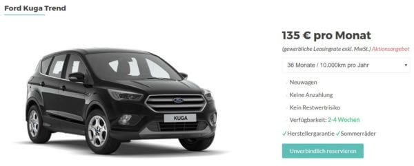 gewerbekunden ford kuga leasing ab 135 pro monat. Black Bedroom Furniture Sets. Home Design Ideas