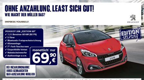 peugeot 208 knaller leasing ber 12 monate f r nur 69 90 pro monat. Black Bedroom Furniture Sets. Home Design Ideas