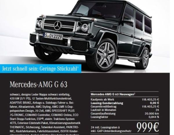 mercedes amg g 63 f r gewerbe 999 pro monat. Black Bedroom Furniture Sets. Home Design Ideas