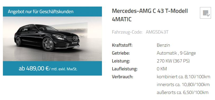 amg c43 t modell gewerbeleasing 489 monat. Black Bedroom Furniture Sets. Home Design Ideas