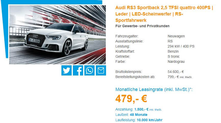audi rs3 leasing f r privat und gewerbe 479. Black Bedroom Furniture Sets. Home Design Ideas