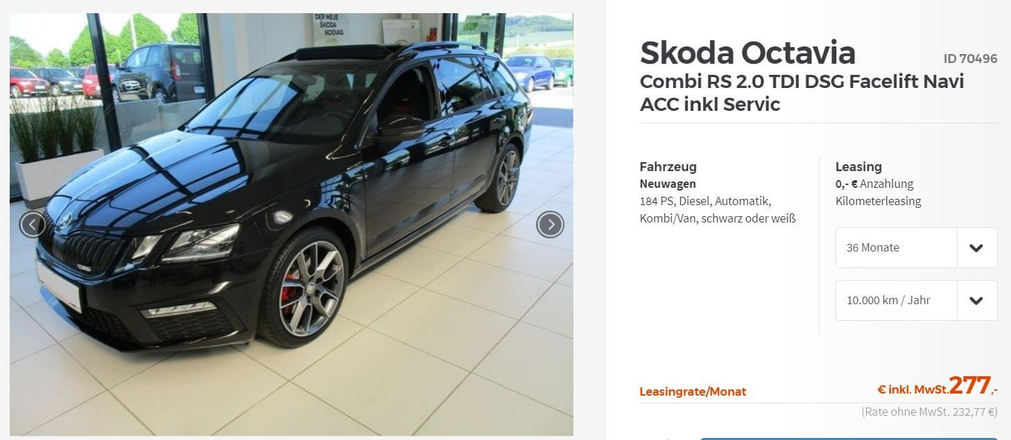 skoda octavia rs leasing. Black Bedroom Furniture Sets. Home Design Ideas