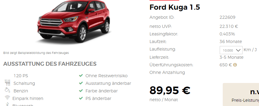privat und gewerbekunden ford kuga leasing ab 109. Black Bedroom Furniture Sets. Home Design Ideas