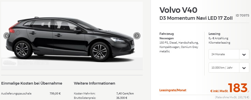 volvo v40 momentum leasing leasing. Black Bedroom Furniture Sets. Home Design Ideas