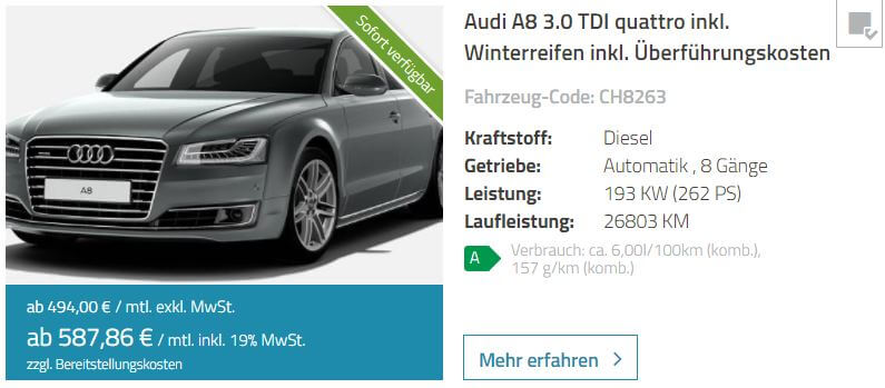 audi a8 leasing carledo inkl privat. Black Bedroom Furniture Sets. Home Design Ideas