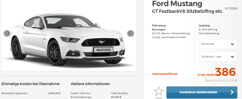 ford mustang leasing angebot auto bild idee. Black Bedroom Furniture Sets. Home Design Ideas