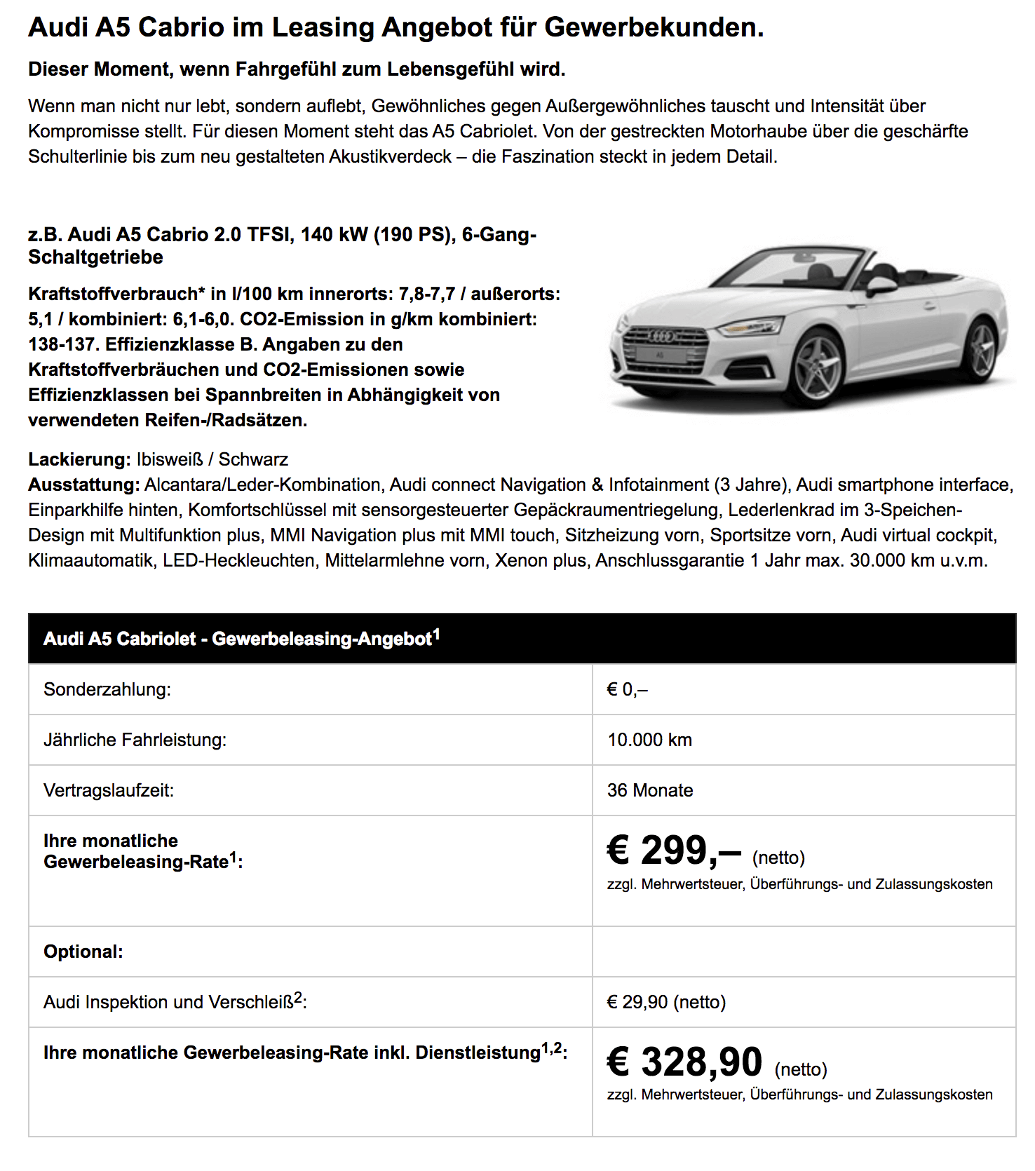 Audi A5 Cabrio Leasing