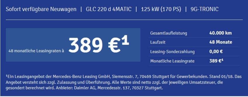 mercedes benz glc 220d leasing f r 389 euro im monat netto. Black Bedroom Furniture Sets. Home Design Ideas