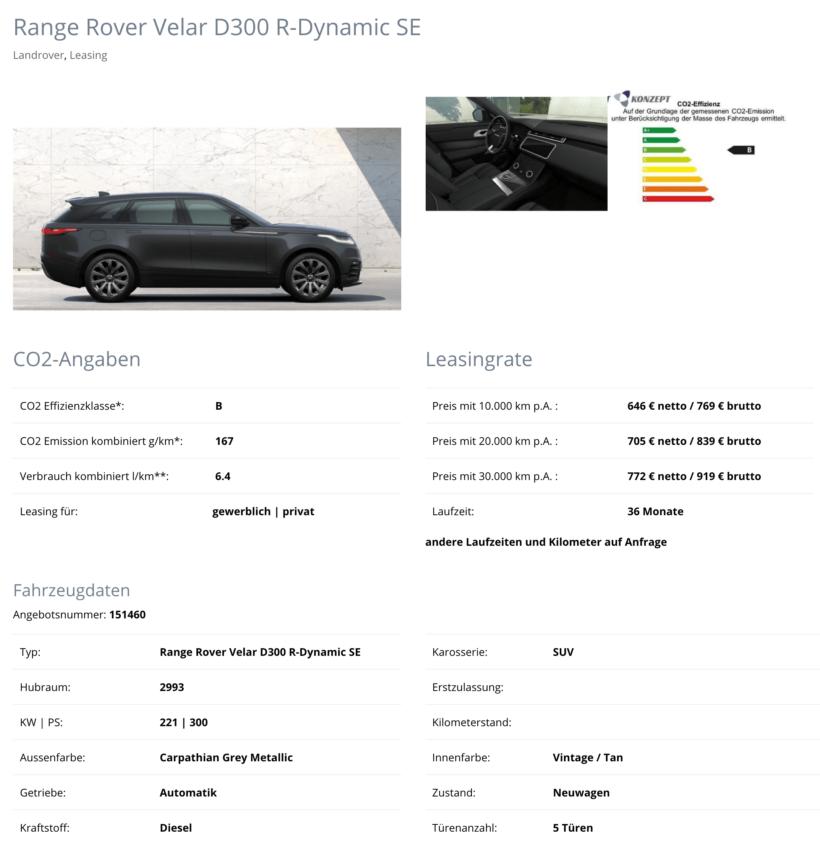 Range Rover Velar Leasing für 769 Euro im Monat brutto - sparneuwagen.de