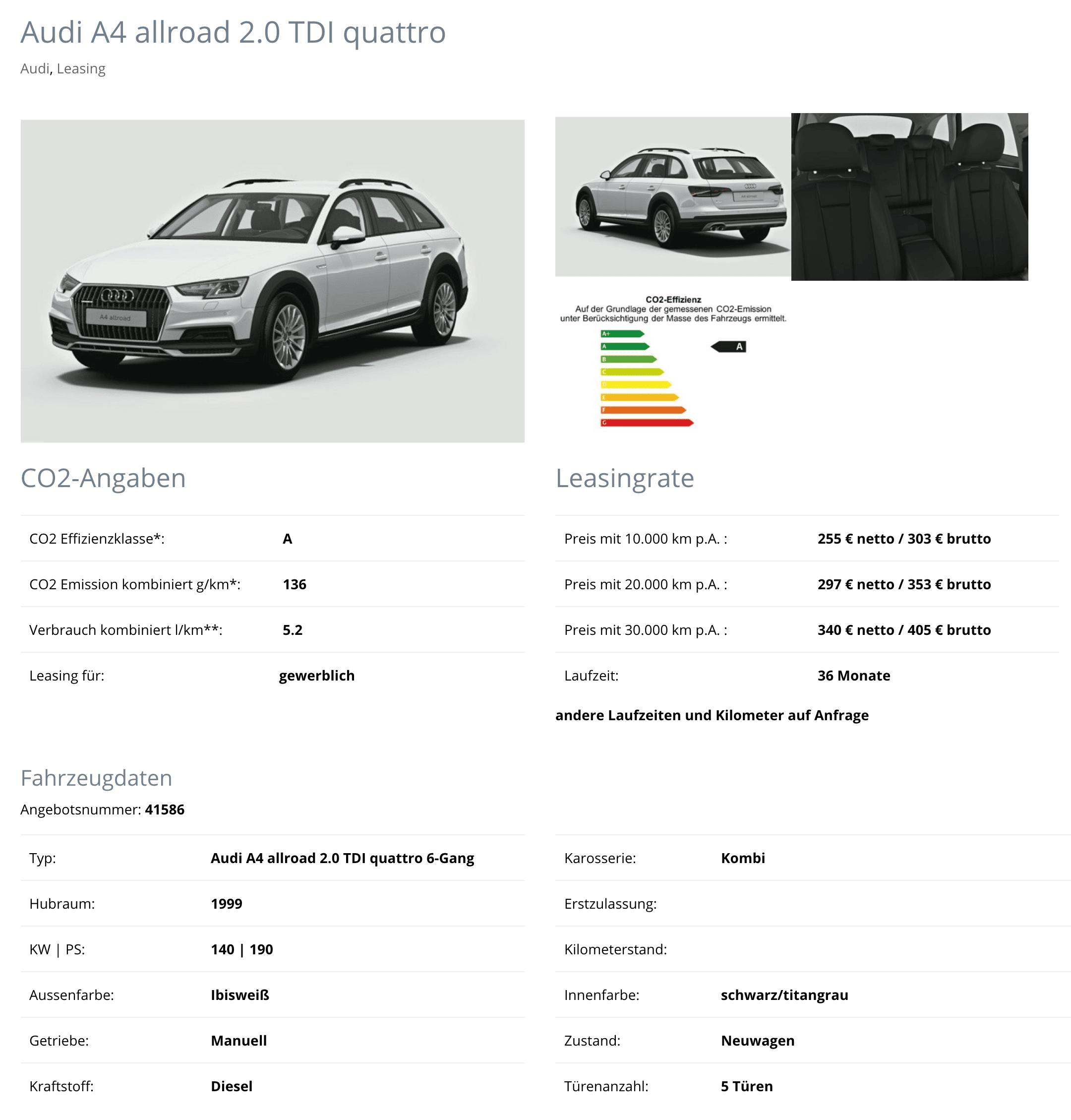 Audi A4 Allroad Quattro Leasing Ab 255 Euro Im Monat Netto