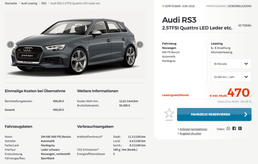 audi rs3 leasing f r 395 euro im monat netto. Black Bedroom Furniture Sets. Home Design Ideas