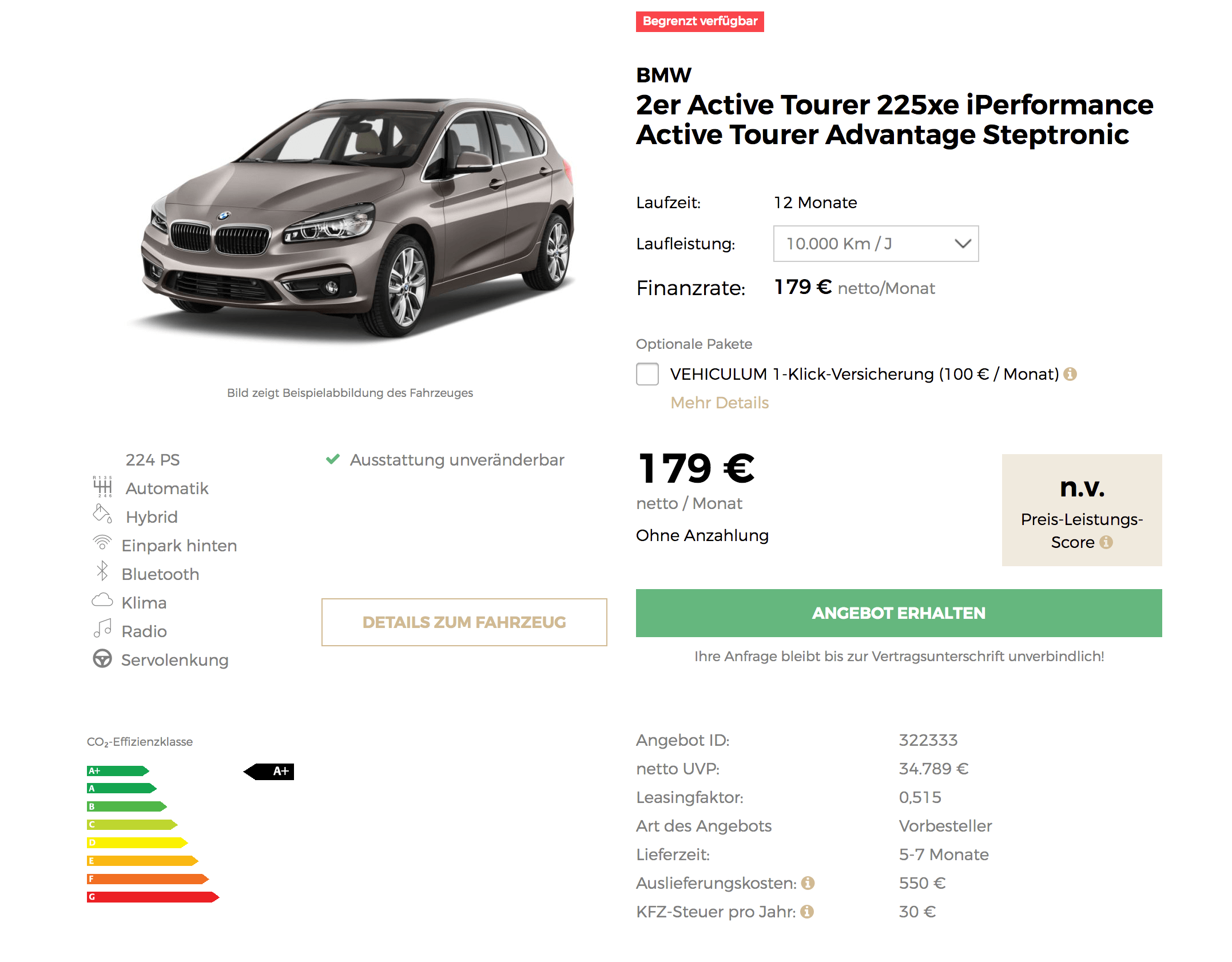 bmw 225xe active tourer leasing f r 179 euro im monat. Black Bedroom Furniture Sets. Home Design Ideas