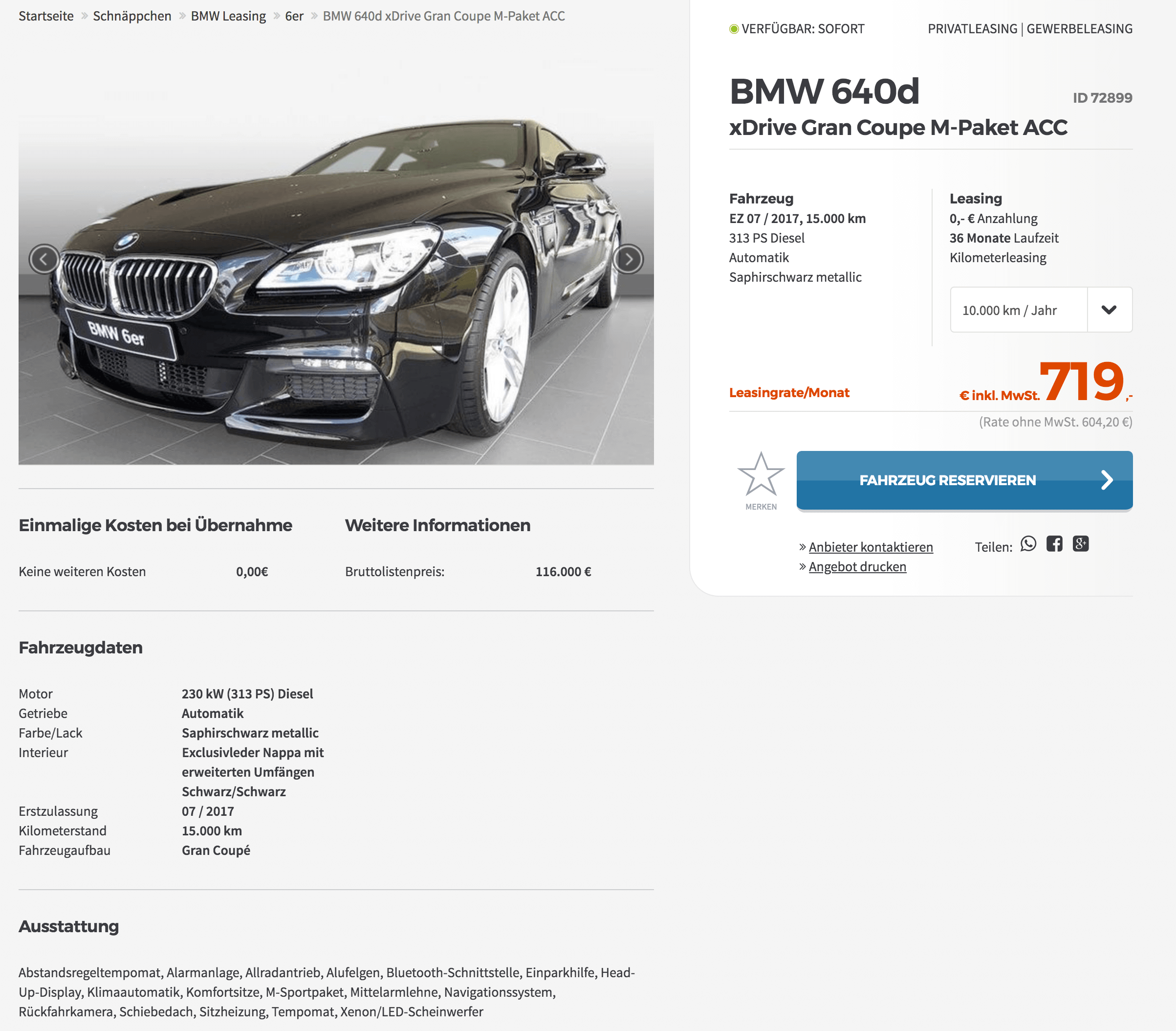 bmw 640d gran coup leasing f r 719 euro im monat brutto jahreswagen. Black Bedroom Furniture Sets. Home Design Ideas