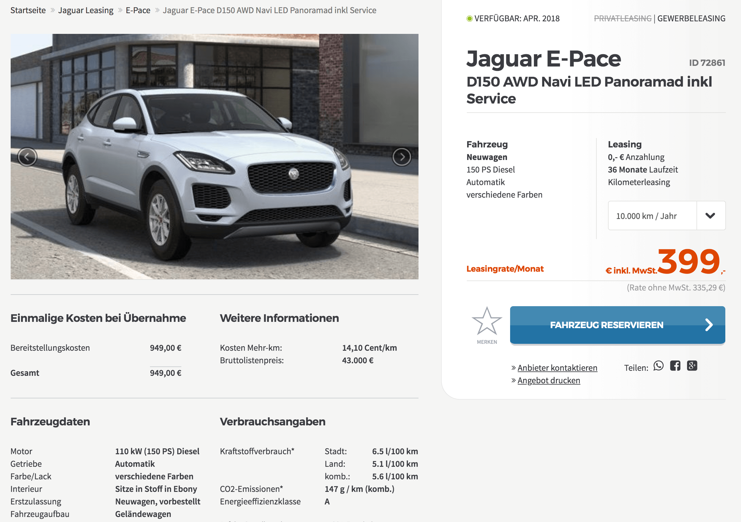 jaguar e pace leasing f r 335 euro im monat netto inkl. Black Bedroom Furniture Sets. Home Design Ideas