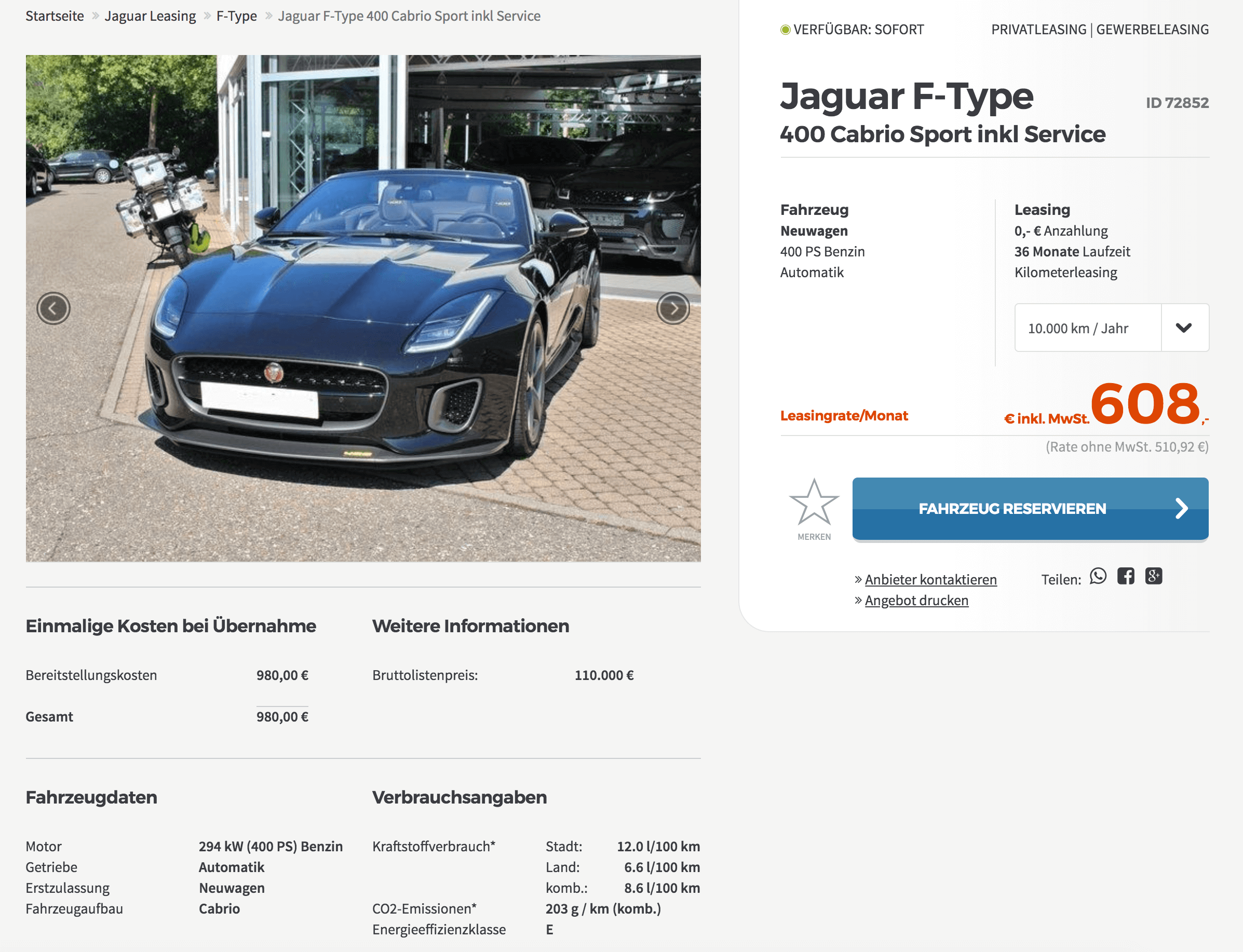 jaguar f type cabrio leasing f r 608 euro im monat brutto inkl service. Black Bedroom Furniture Sets. Home Design Ideas