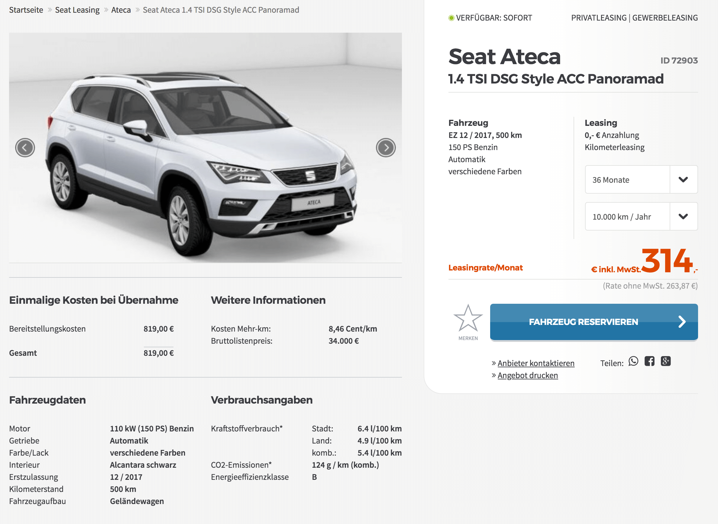 seat ateca leasing f r 314 euro im monat brutto. Black Bedroom Furniture Sets. Home Design Ideas