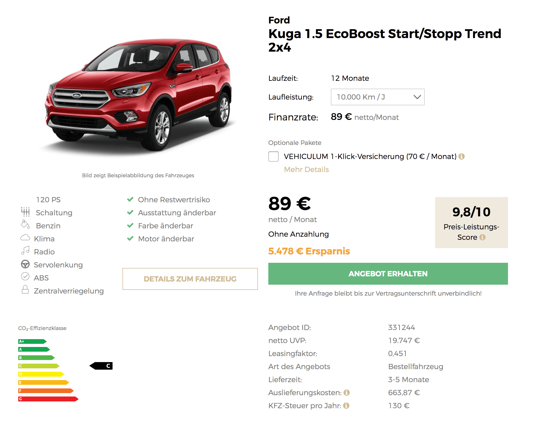 ford kuga leasing f r 89 euro im monat netto 12 monate. Black Bedroom Furniture Sets. Home Design Ideas