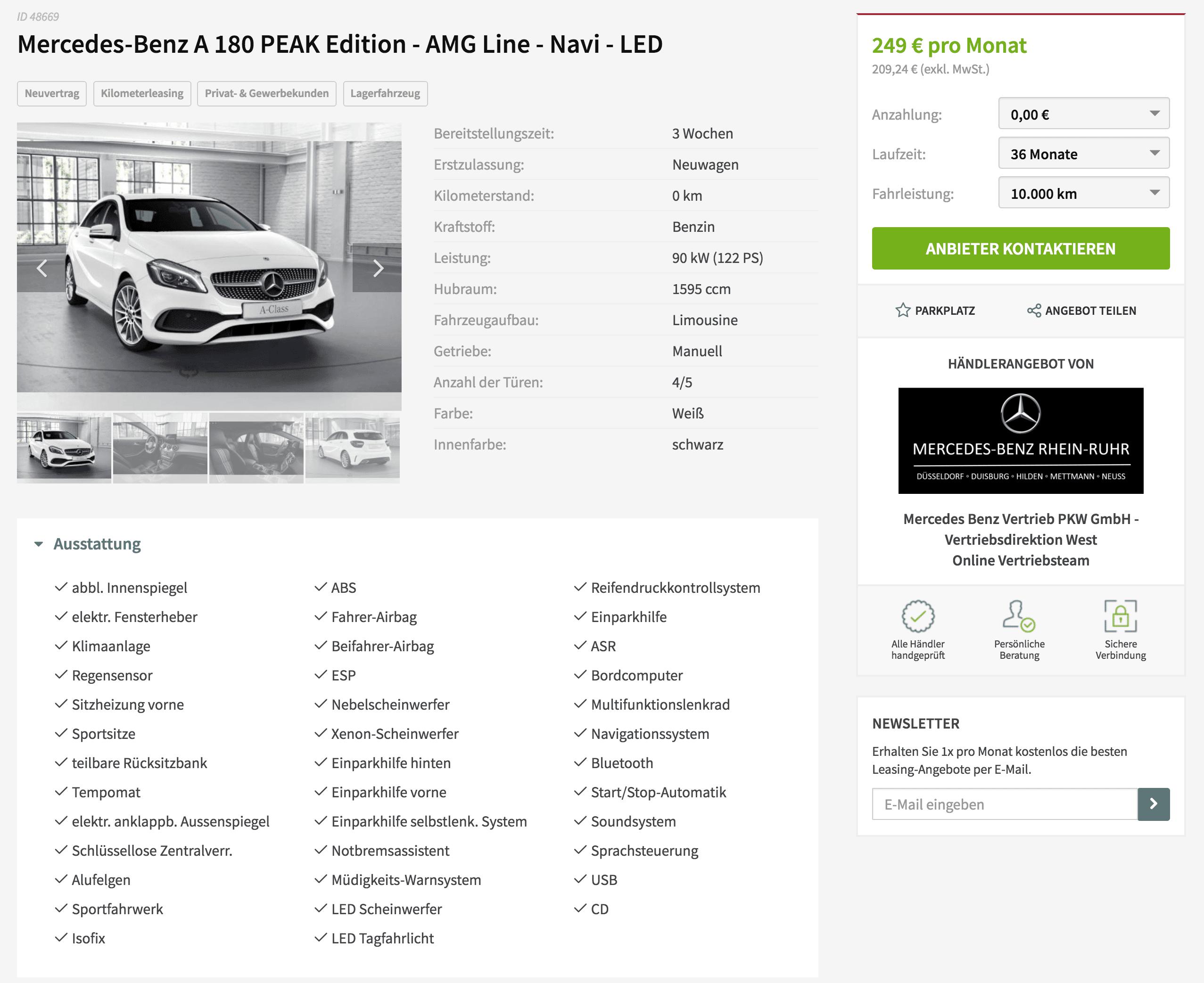 Mercedes benz a180 leasing f r 249 euro im monat brutto for Mercedes benz complaint department