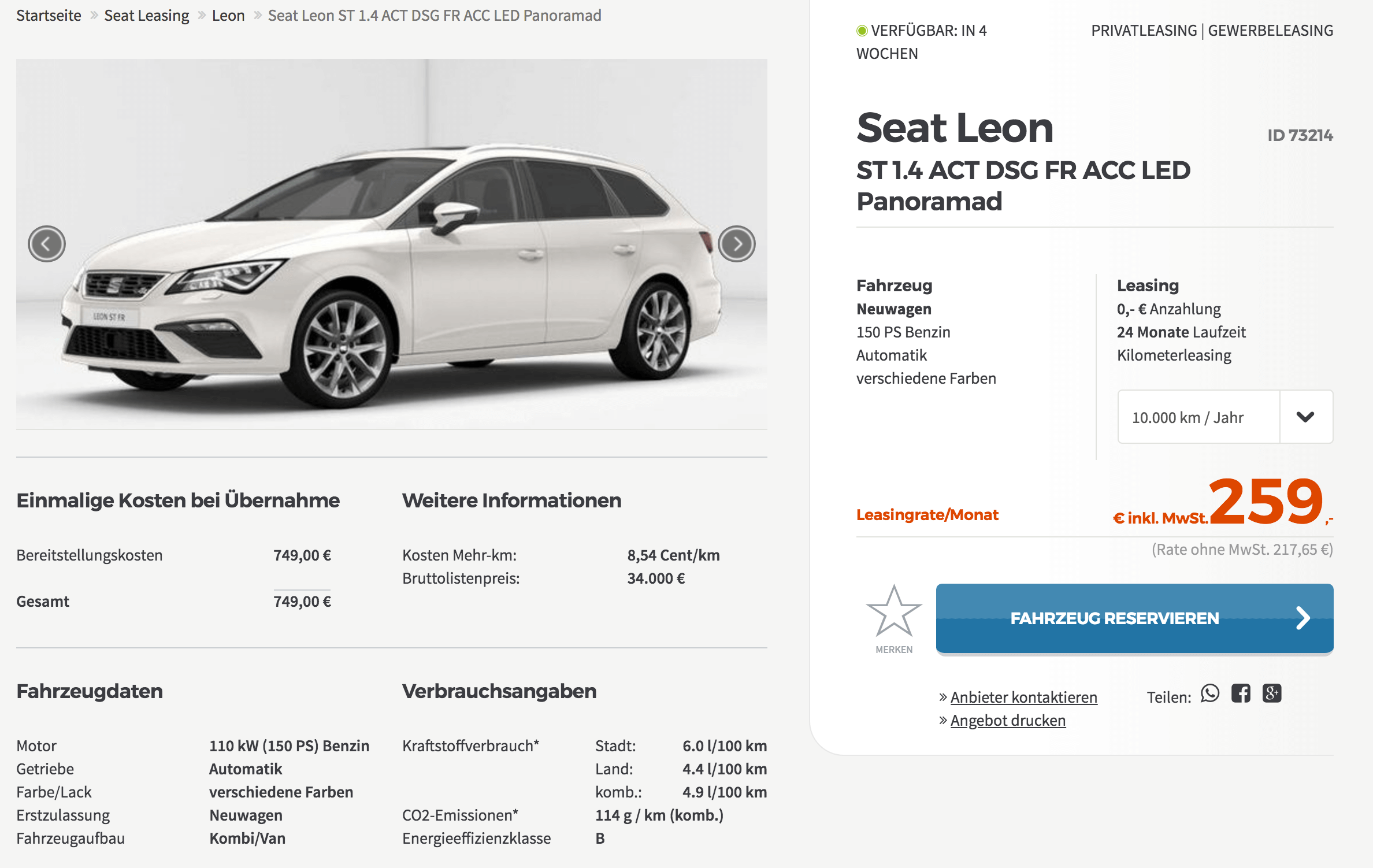 seat leon st leasing f r 259 euro im monat brutto 24. Black Bedroom Furniture Sets. Home Design Ideas