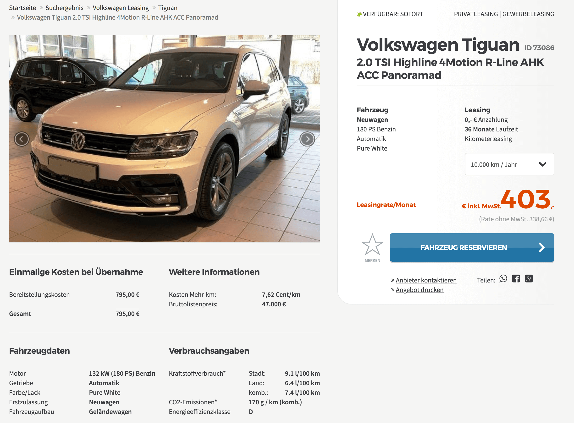 vw tiguan leasing f r 403 euro im monat brutto. Black Bedroom Furniture Sets. Home Design Ideas