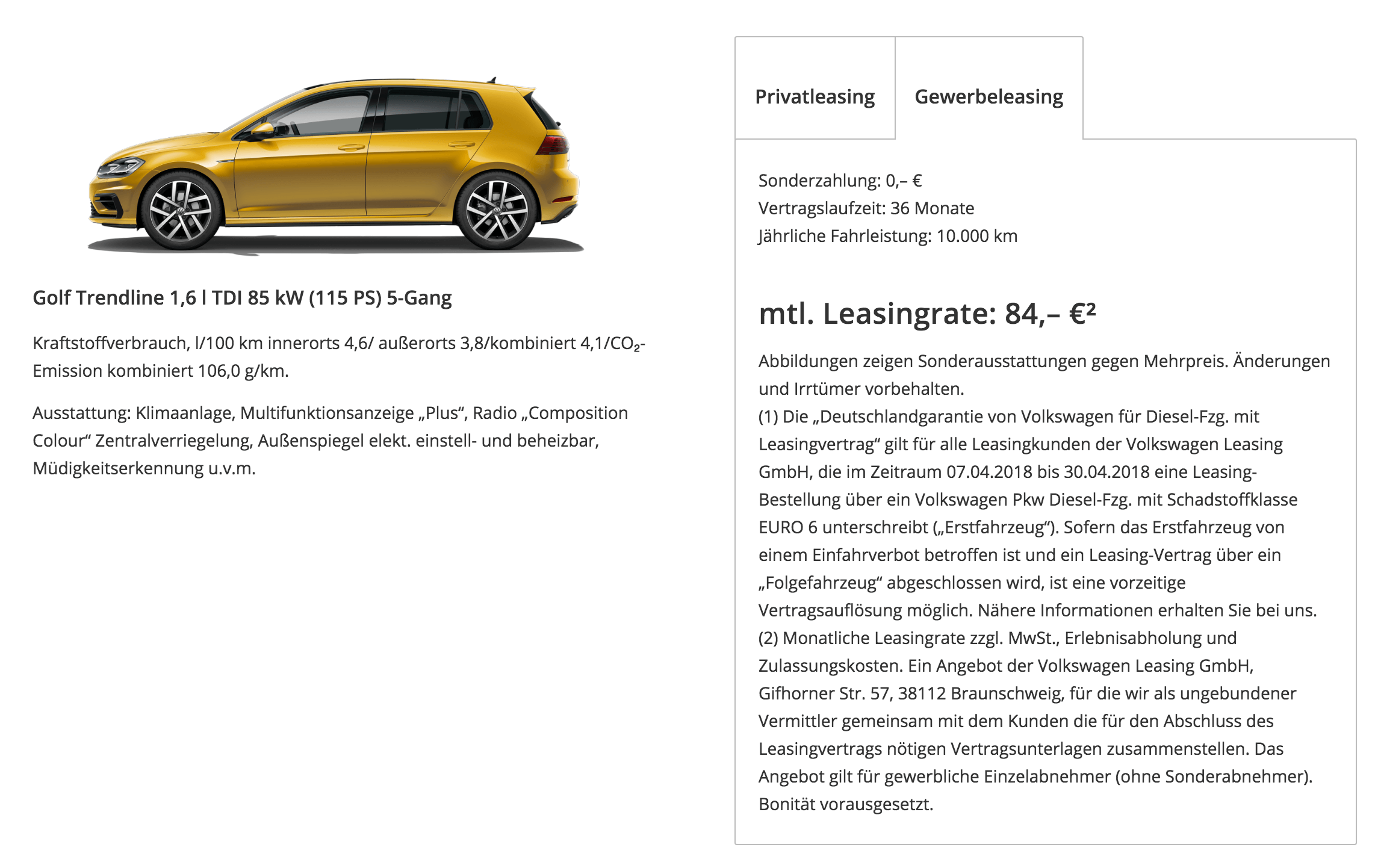 vw leasing bei pl tz mit deutschland garantie z b golf f r 84 euro im monat netto. Black Bedroom Furniture Sets. Home Design Ideas