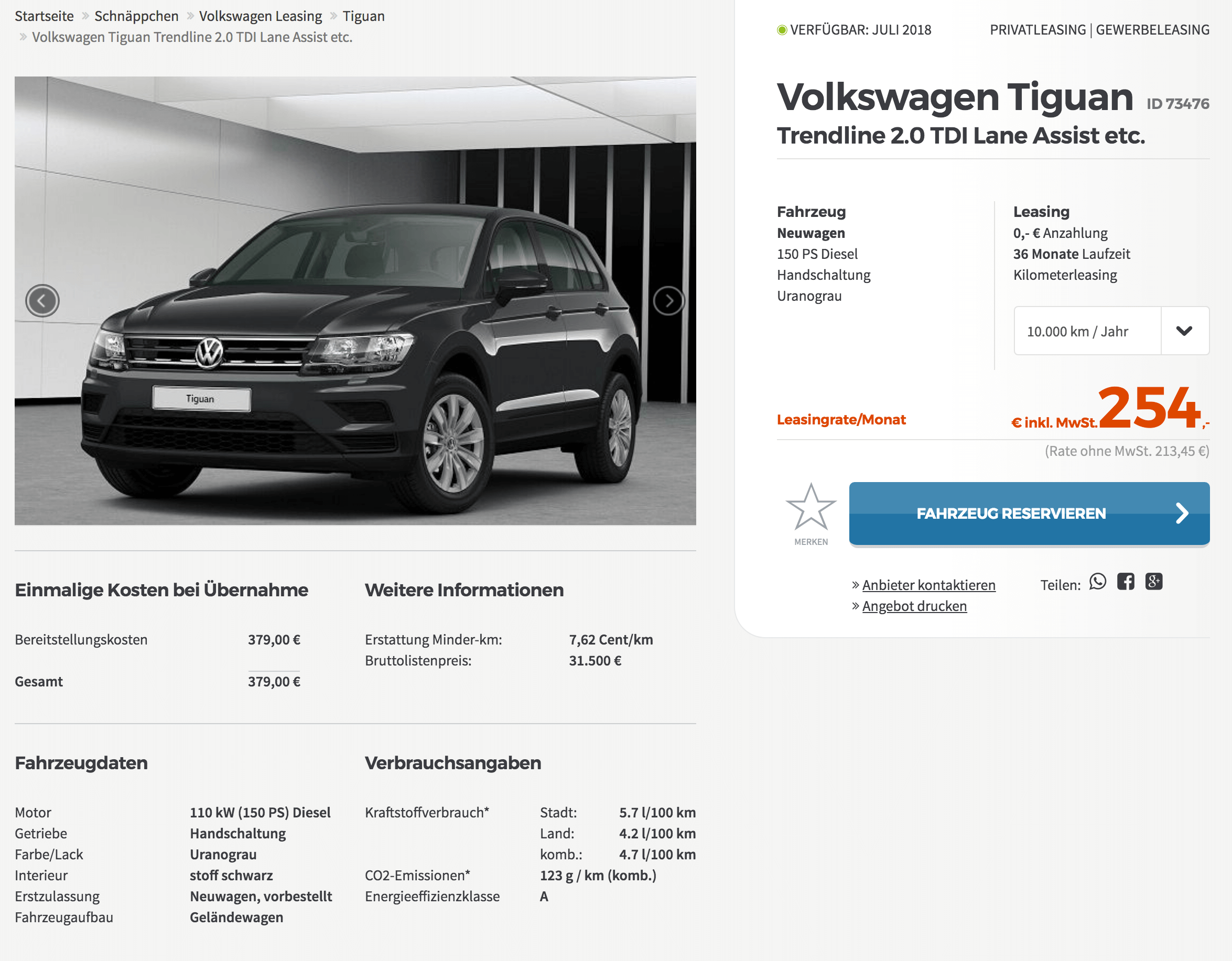 vw tiguan leasing f r 254 euro im monat brutto. Black Bedroom Furniture Sets. Home Design Ideas