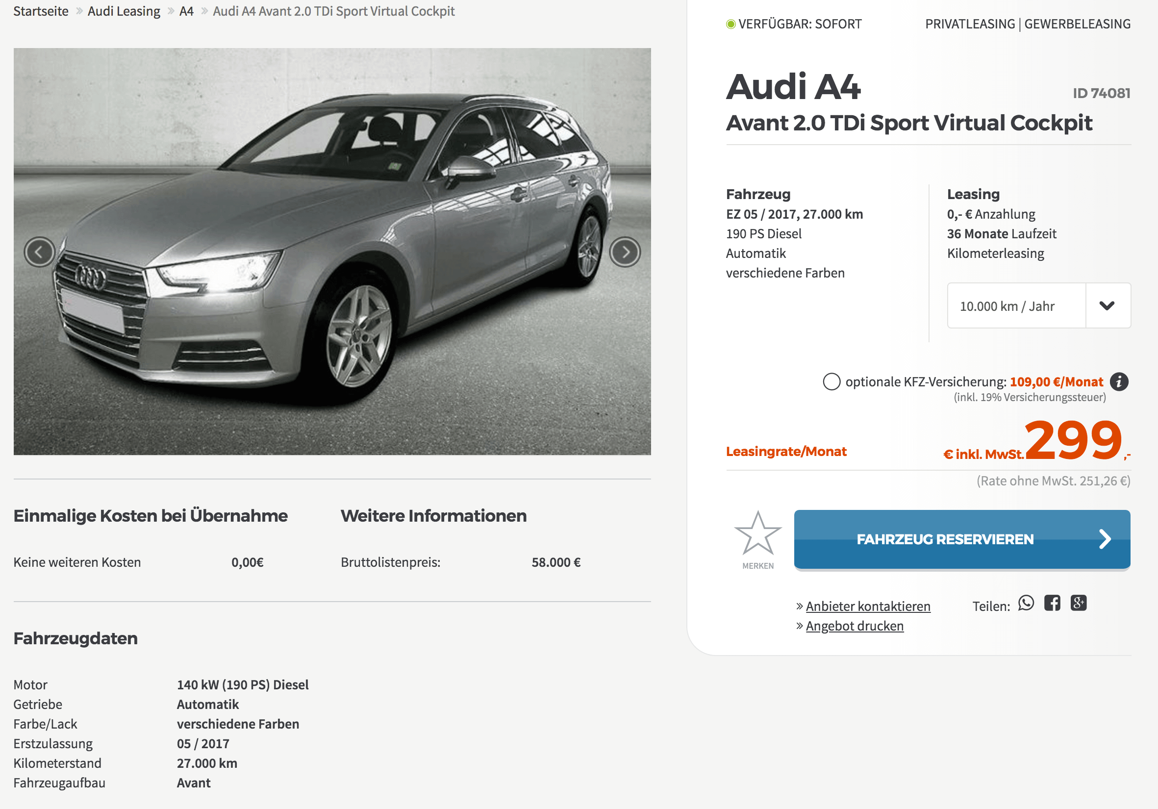 audi a4 avant leasing f r 299 euro im monat brutto jahreswagen. Black Bedroom Furniture Sets. Home Design Ideas