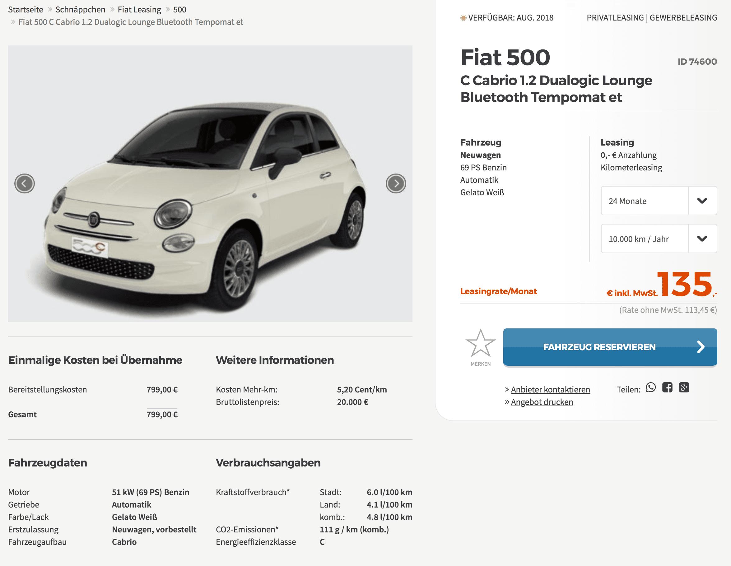 fiat 500c cabrio leasing f r 135 euro im monat brutto 24. Black Bedroom Furniture Sets. Home Design Ideas