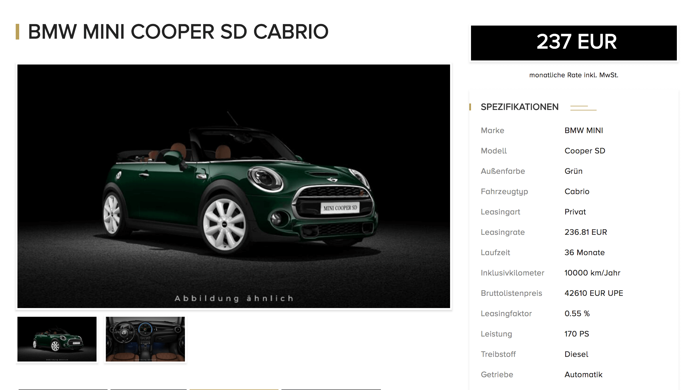 mini cooper sd cabrio leasing f r 237 euro im monat brutto jahreswagen schon weg. Black Bedroom Furniture Sets. Home Design Ideas