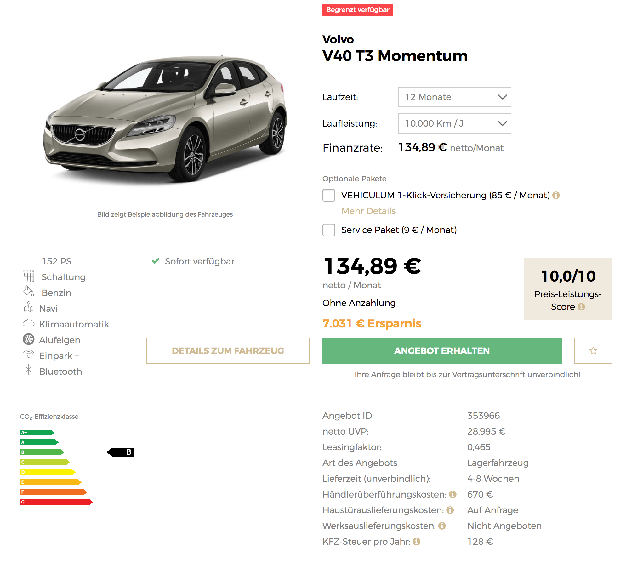 hot volvo v40 t3 momentum leasing f r 135 euro im monat. Black Bedroom Furniture Sets. Home Design Ideas
