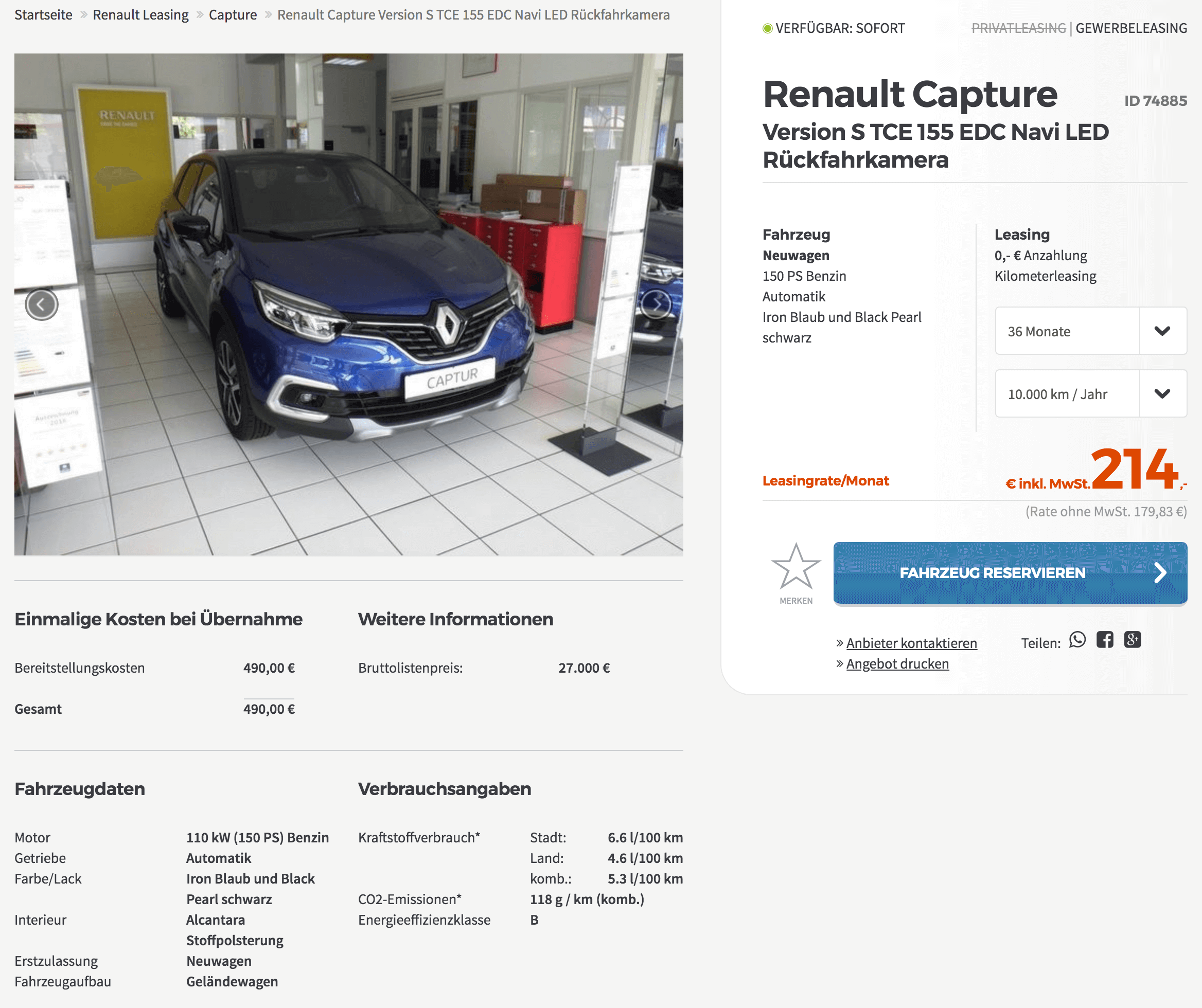 renault captur version s leasing f r 180 euro im monat. Black Bedroom Furniture Sets. Home Design Ideas
