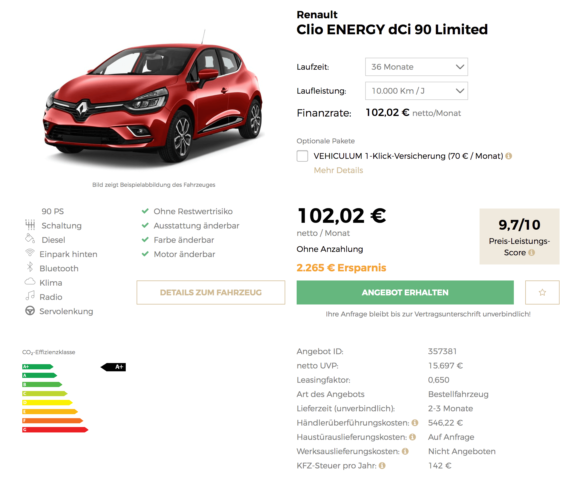 renault clio energy leasing f r 102 euro im monat netto. Black Bedroom Furniture Sets. Home Design Ideas
