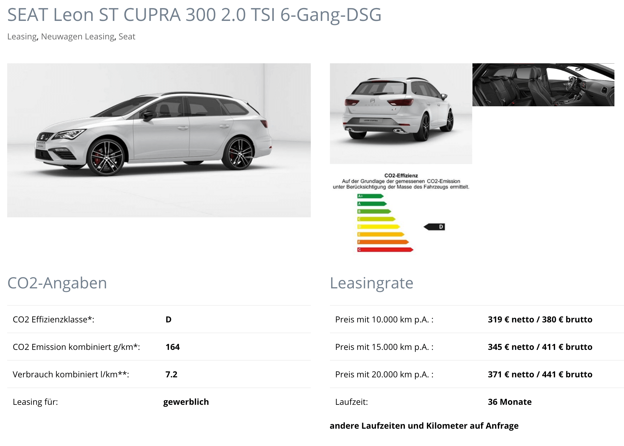 seat leon st cupra 300 leasing f r 319 euro im monat netto. Black Bedroom Furniture Sets. Home Design Ideas