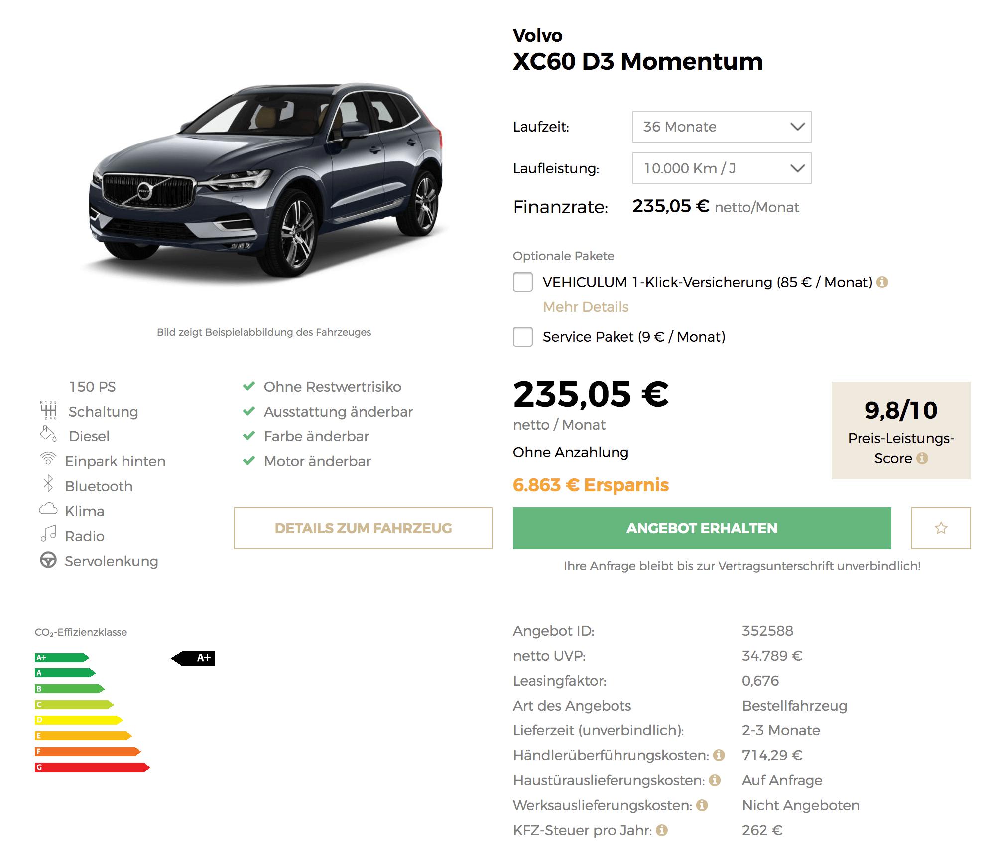 Volvo X60 Lease: Volvo XC60 Leasing Für 235 Euro Im Monat Netto