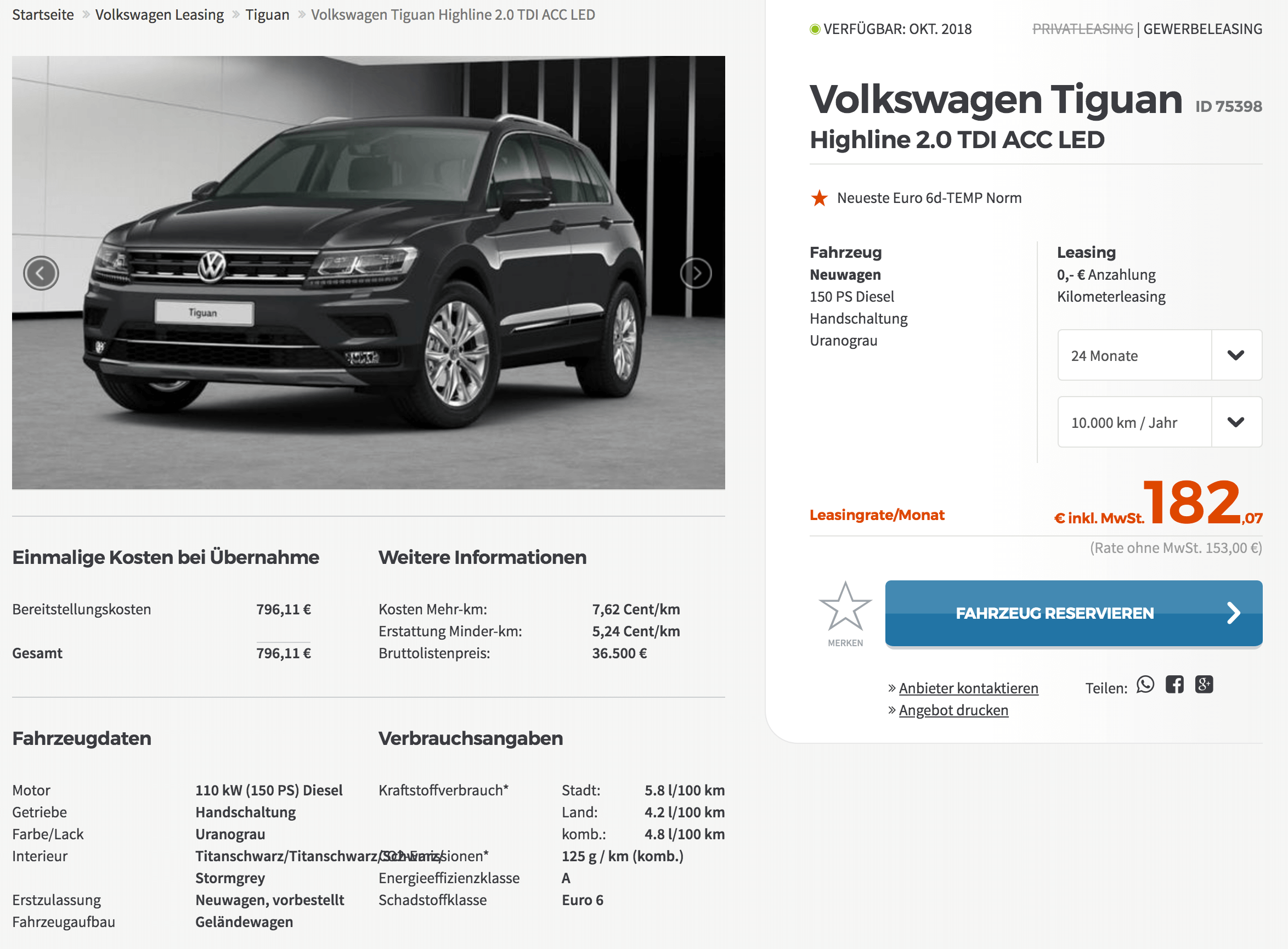vw tiguan highline leasing f r 153 euro im monat netto. Black Bedroom Furniture Sets. Home Design Ideas