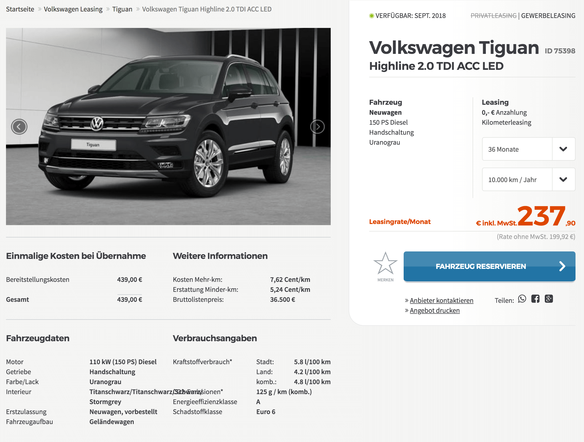 vw tiguan highline leasing f r 200 euro im monat netto. Black Bedroom Furniture Sets. Home Design Ideas
