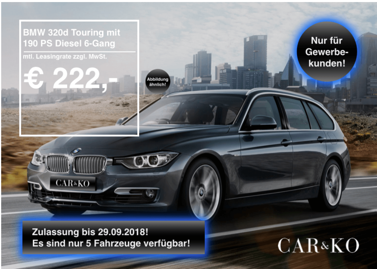 bmw 320d touring leasing f r 222 euro im monat netto. Black Bedroom Furniture Sets. Home Design Ideas
