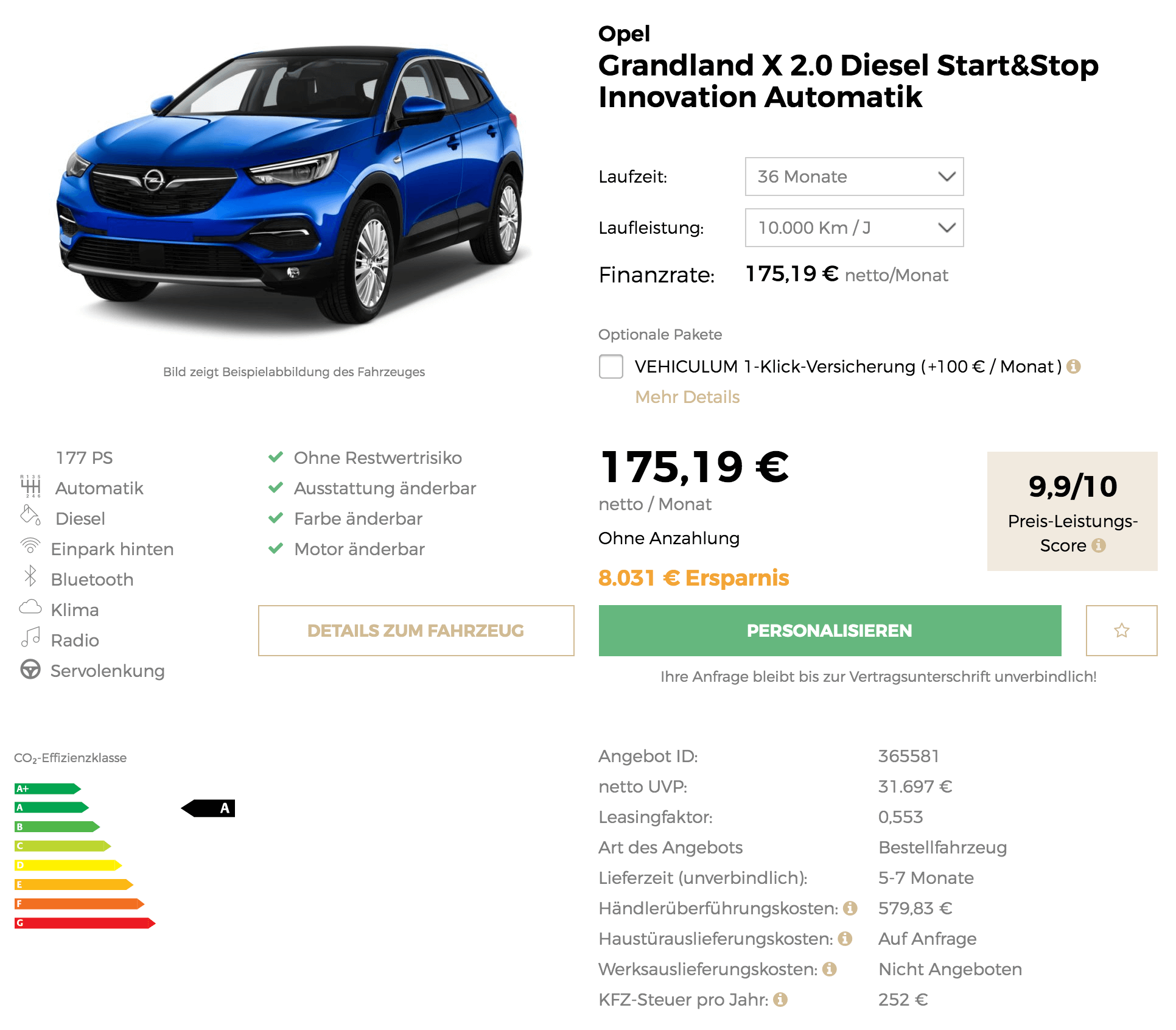 opel grandland x leasing f r 175 euro im monat netto. Black Bedroom Furniture Sets. Home Design Ideas