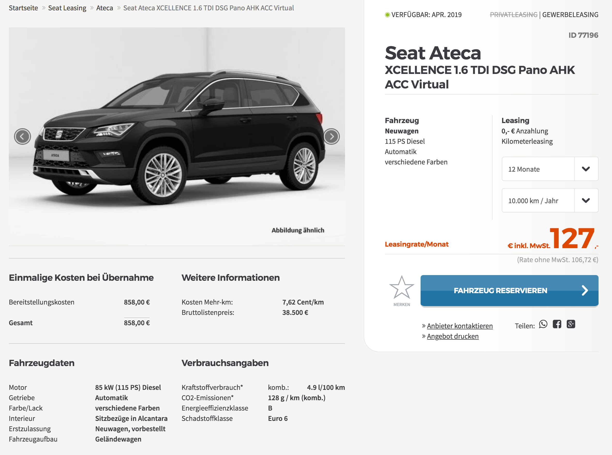 seat ateca xcellence 1 6 tdi leasing f r 107 euro im monat. Black Bedroom Furniture Sets. Home Design Ideas