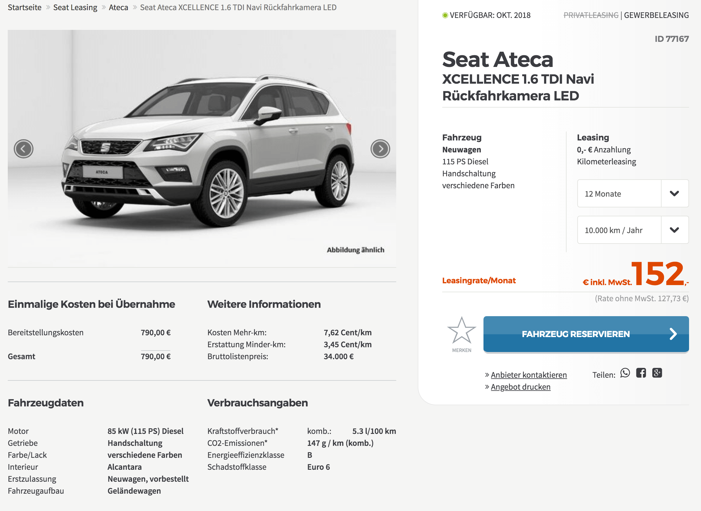 seat ateca xcellence leasing f r 128 euro im monat netto. Black Bedroom Furniture Sets. Home Design Ideas