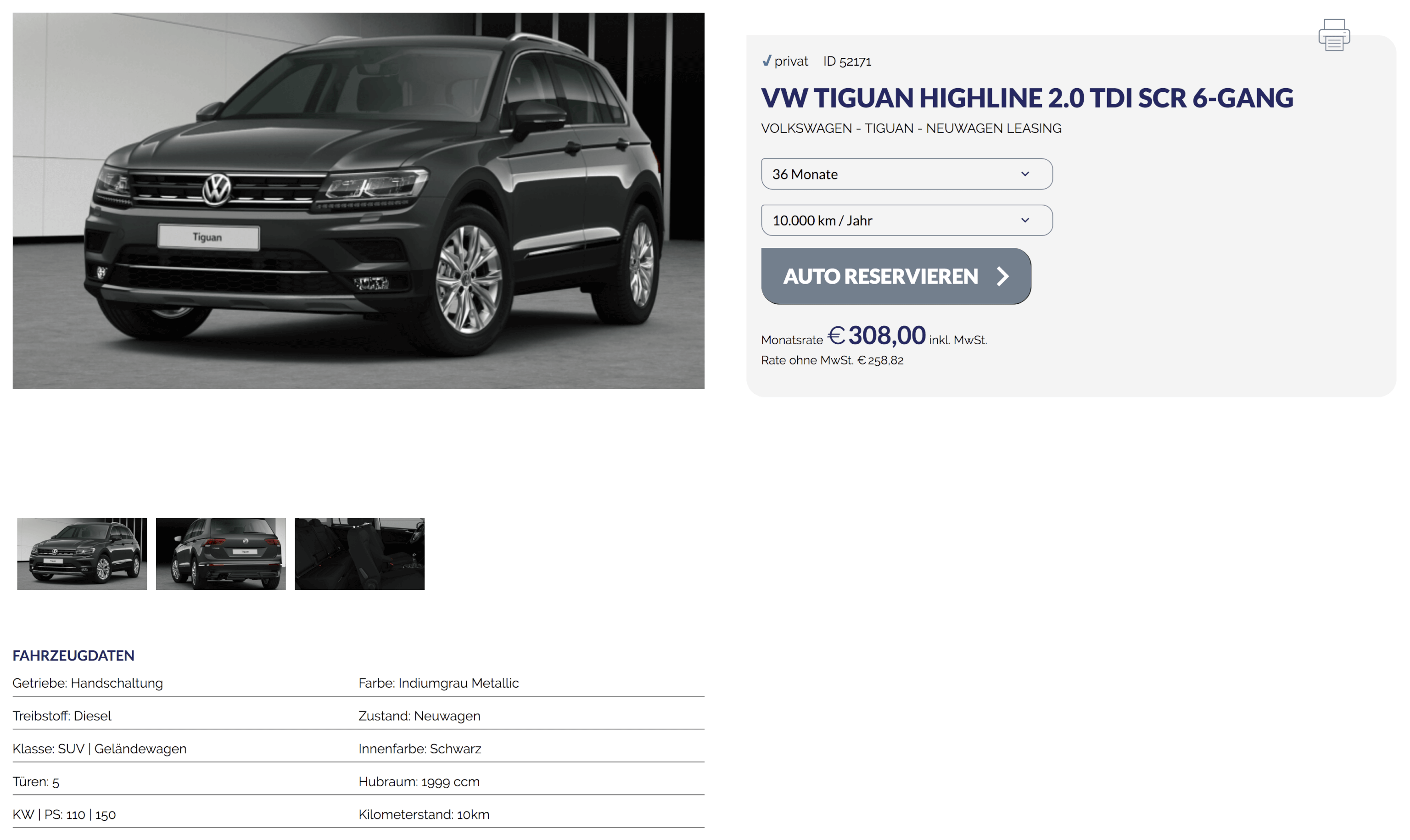 vw tiguan highline 2 0 tdi leasing ab 308 euro im monat. Black Bedroom Furniture Sets. Home Design Ideas