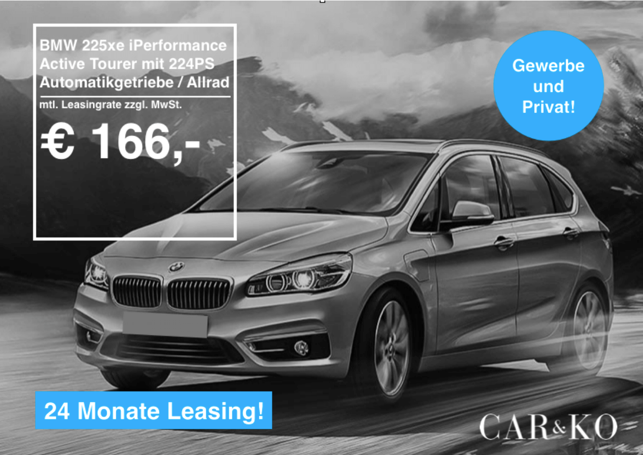bmw 225xe iperformance active tourer leasing f r 166 euro. Black Bedroom Furniture Sets. Home Design Ideas