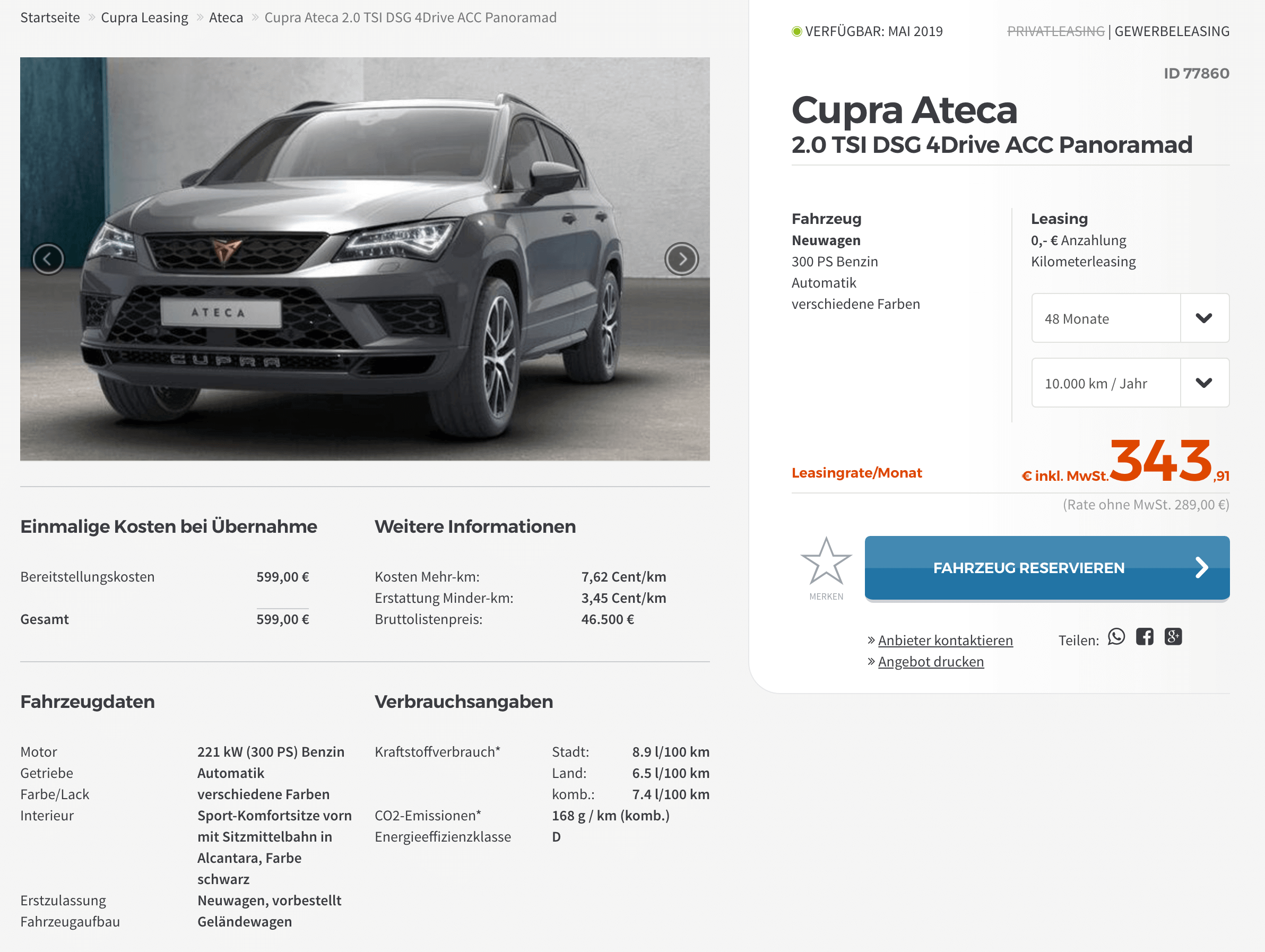 cupra ateca leasing f r 289 euro im monat netto. Black Bedroom Furniture Sets. Home Design Ideas