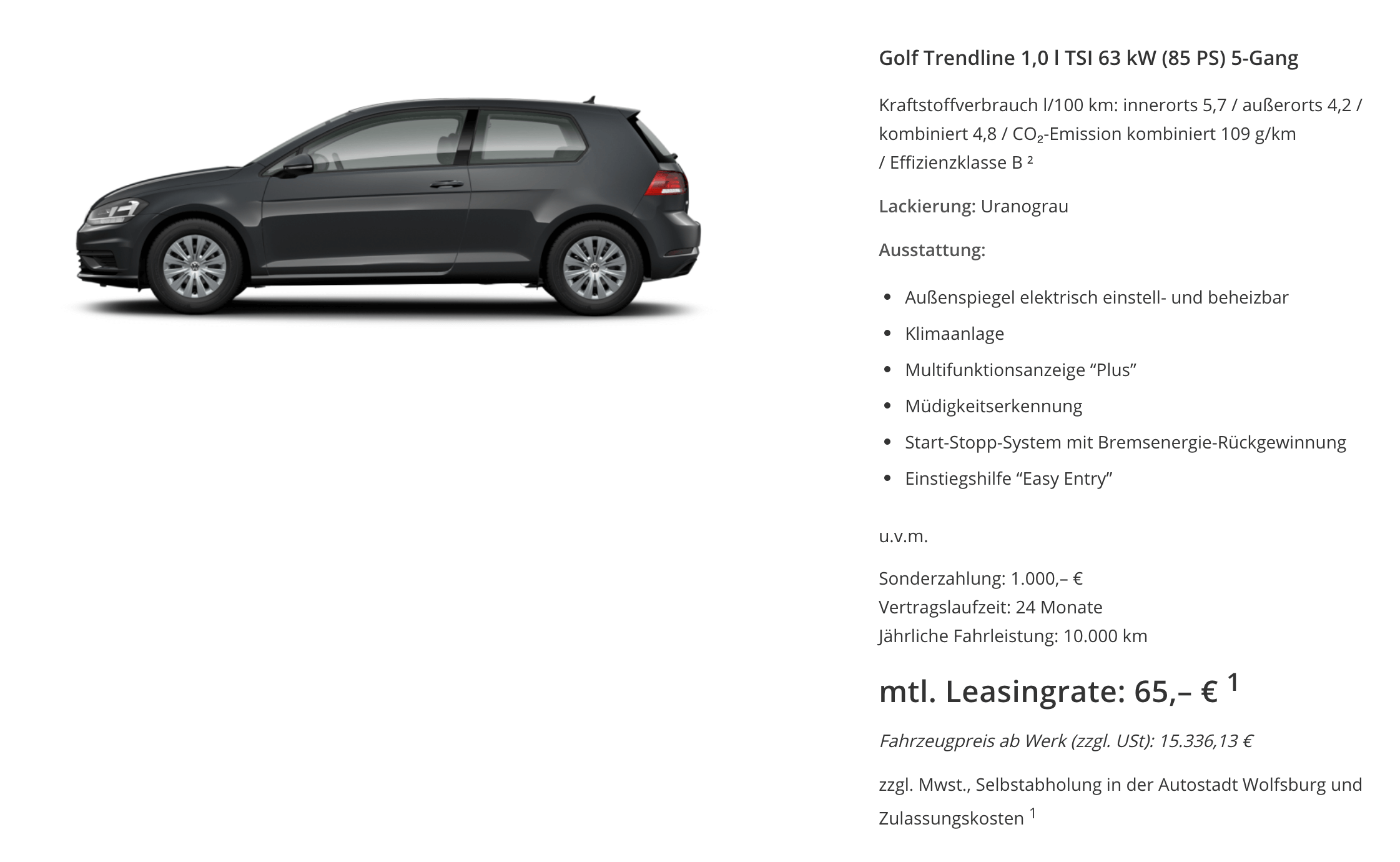 vw golf trendline 1 0 tsi leasing f r 65 107 euro im. Black Bedroom Furniture Sets. Home Design Ideas